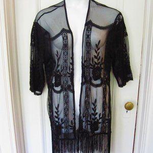 Black Lace Kimono with Fringe